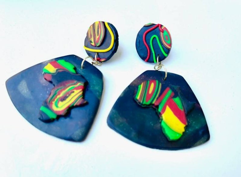Handmade jewelry african pride Polymer clay jewelry image 0