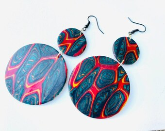 Polymer clay jewelry, Juneteenth Jewelry, beaded earrings , ethnic jewelry, african colors, handmade jewelry, african pride
