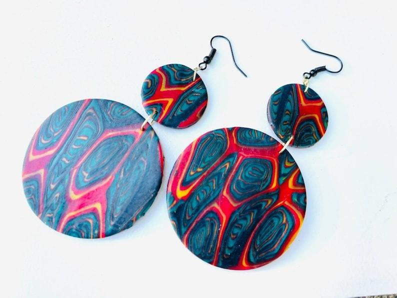 Polymer clay jewelry Juneteenth Jewelry beaded earrings  image 0