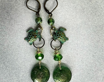Metal earrings, Handmade earrings, Green earrings, turtle earrings, cute earrings, patina earrings, Pinkice Jewels, item# 586425128