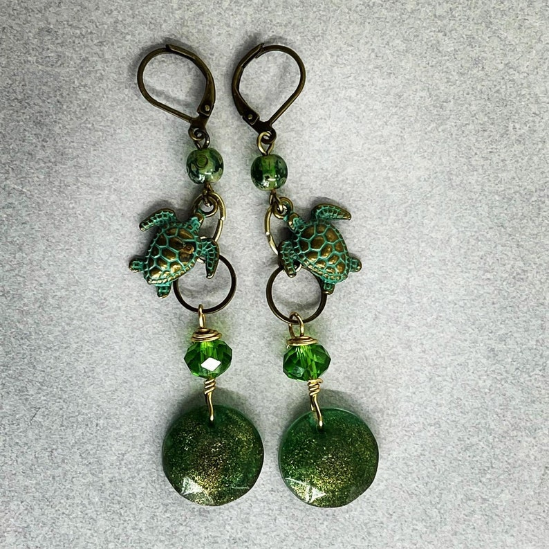 Metal earrings Handmade earrings Green earrings turtle image 0