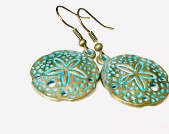 Sand dollar, green earrings, metal jewelry, beach jewelry, sea jewelry, patina earrings, brass earrings, handmade earrings, Item#T1900