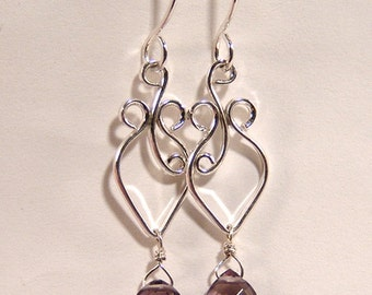 Kunzite Violet faceted Marquise Dangle earrings SS