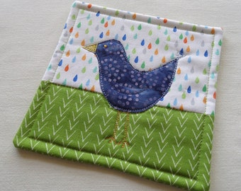 Blue Birdy Coffee Coaster or Mug Rug, in Apple Green, Blue and White