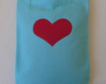 Best Seller - Aqua Flannel Hot Water Bottle Cover With Red Heart Applique