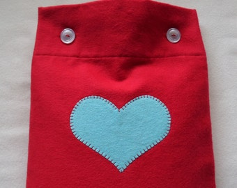 Red Flannel Hot Water Bottle Cover With Aqua Heart Applique