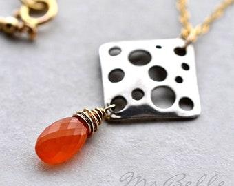 Orange Carnelian Gemstone Mixed Metal Pendant Necklace - Orange Briolette Wire Wrapped Pendant Necklace
