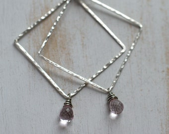 Hammered Sterling Diamond and Pale Pink Quartz Earrings - Hammered Diamond Gemstone Dangle Earrings in Oxidized Sterling Silver