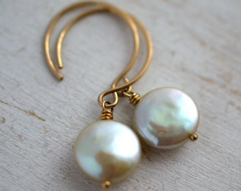 Baby Freshwater Coin Pearl Earrings in Goldfill - Light Sage Green Coin Pearl Earrings - Soft Green Pearl Earrings - Green Pearl Earrings
