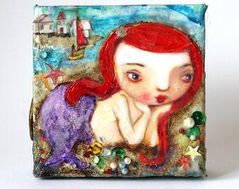 Original painting,Little Purple Sirena