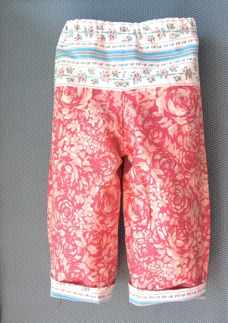 SALE Toddler Girls  Cotton Reversible Spring Summer Pants  size 18 months New and Vintage Fabric