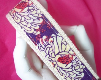 Wristlet Key Fob Keychain Purple Mums