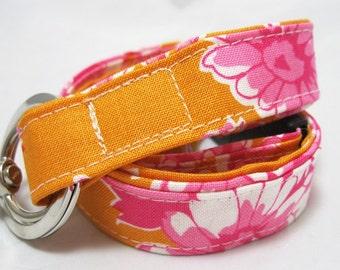Lanyard, Teacher Lanyard, Badge Holder, ID Holder, Breakaway Lanyard, Fabric Lanyard, Pink Tangerine Floral