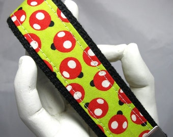 Wristlet Keychain Key Fob Ladybugs on LIme