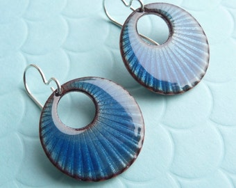 Azure Blue Enamel Earrings - Sunray Textured Copper with Vitreous Enamel and Sterling Silver Ear Wires - CC Star