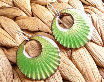 Grass Green Enamel Earrings - Sunray Textured Copper with Vitreous Enamel and Sterling Silver Ear Wires - CC Star