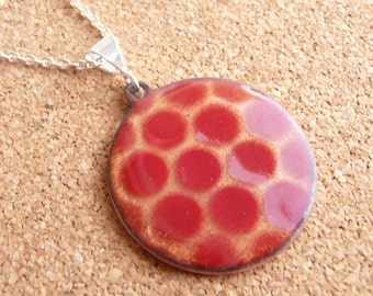 Polka Dot Enamel Necklace - Transparent Gold Pendant with Red Vitreous Enamel and Silver Plated Chain - CC Star