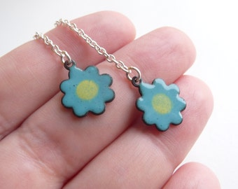 Flower Power Vitreous Enamel Earrings - Copper with Turquoise Blue and Yellow Enamel and Sterling Silver Ear Wires - CC Star