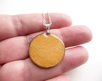Sun Yellow Enamel Necklace - Textured Copper Pendant with Vitreous Enamel and Silver Plated Chain - CC Star