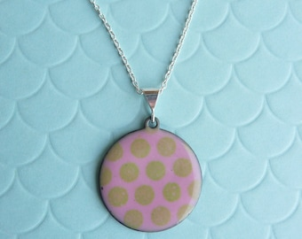 Pink and Green Polka Dot Necklace - Baby Pink Pendant with Pea Green Vitreous Enamel and Silver Plated Chain - CC Star