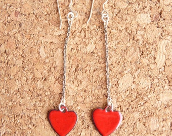 Heart Enamel Earrings - Copper with Fire Red Vitreous Enamel and Sterling Silver Ear Wires - CC Star