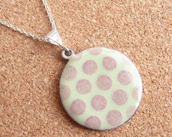 Polka Dot Vitreous Enamel Necklace - Pastel Green Pendant with Rose Pink Polka Dots and Silver Plated Chain - CC Star