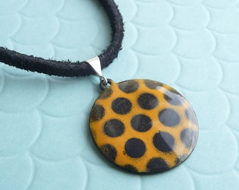 Yellow and Black Polka Dot Necklace - Golden Yellow Pendant with Black Vitreous Enamel and Suede Cord - CC Star