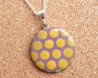 Purple and Yellow Polka Dot Necklace - Grape Purple Pendant with Golden Yellow Vitreous Enamel and Silver Plated Chain - CC Star
