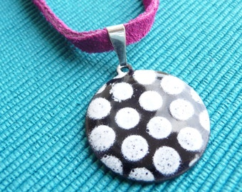 Black and White Polka Dot Necklace - Pendant with Vitreous Enamel and Magenta Suede Cord - CC Star