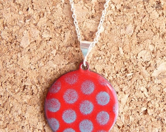 Red and Blue Polka Dot Necklace - Bright Red Pendant with Sky Blue Vitreous Enamel and Silver Plated Chain - CC Star
