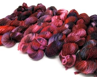 Winter Berry Sparkle Mini Skein Lucky Dip 20g SW Merino & Nylon Sock Yarn