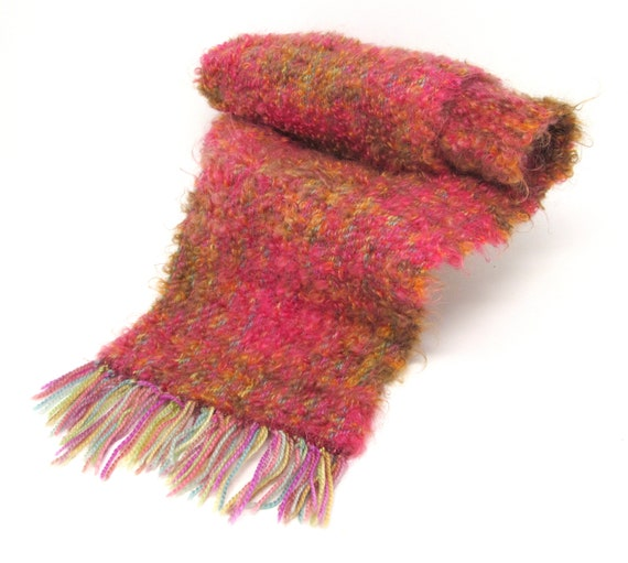 Handwoven Scarf Hand Dyed Mohair BFL Sparkle 46x8 inches