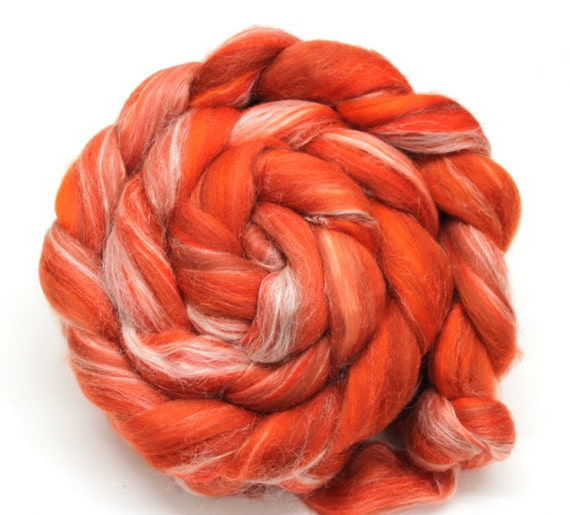 Merino Wool and Silk Combed Top Satsuma Orange 100g Spinning Felting Fibre Roving