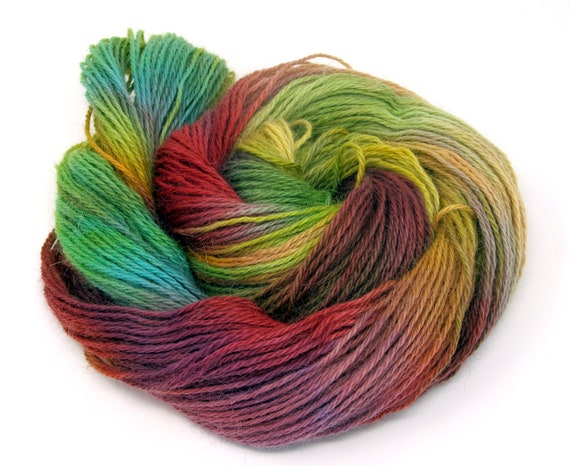 Teeswater Wool Yarn Hand Dyed DK Worsted Weight 100g T1