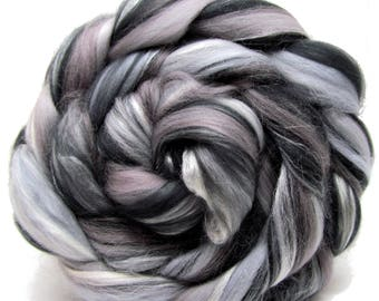 Merino Wool and Silk Combed Top Roving - Monochrome 100g Spinning Felting Weaving