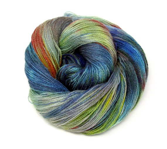 Hand Dyed Yarn Merino Wool & Silk Lace weight Yarn 100g 570m LMS7