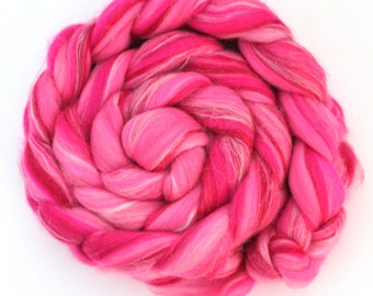 Merino Wool Combed Top Roving 100g Vibrant Pink
