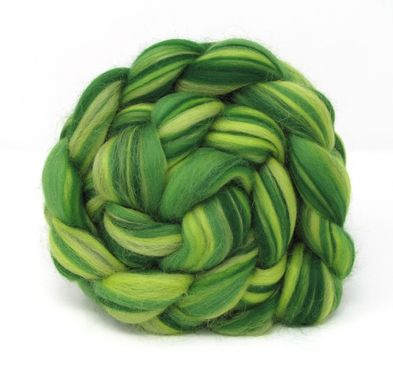 Merino Wool Combed Top - The Greens 100g Spinning Felting Fibre Roving