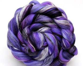 Merino Wool and Silk Blend Combed Top Purple Fine Merino Fiber 100g