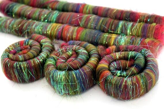 Merino Sparkle Rolags - Fireworks Merino Wool Angelina Sparkle 100g