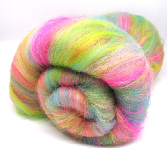 Naughty Neon Merino Wool Carded Batt 100g