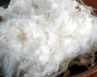 Bamboo Staple Fibre white cellulose fiber for blending carding spinning felting 100g