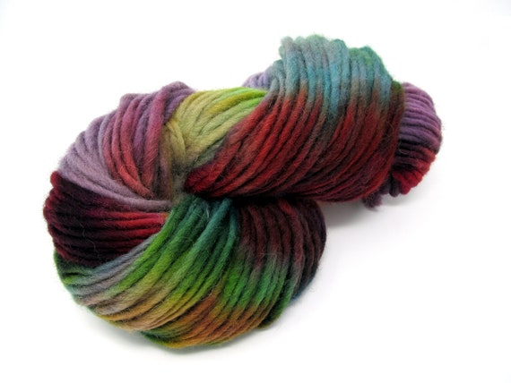 Hand  Dyed Pencil Roving  extra chunky Cheviot Wool yarn 200g