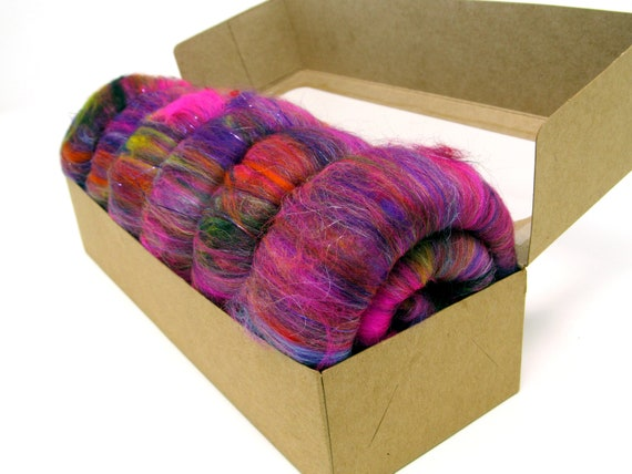 Rolags - Merino Silks Angelina Sparkle Trilobal 60g Boxed