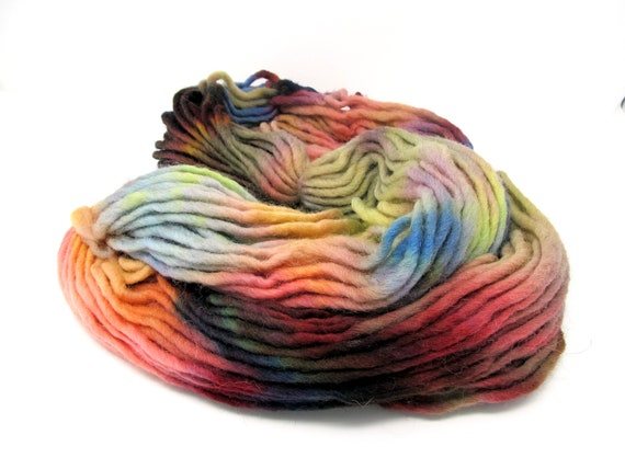 Cheviot Roving Wool Hand Dyed Pencil Roving extra chunky yarn 200g PR12