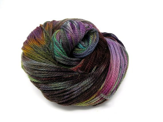 Merino Wool Sparkle Hand Dyed Sock Yarn   100g 350m