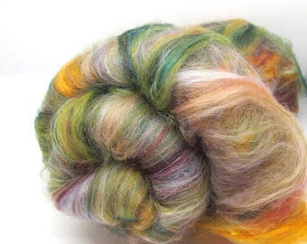 Carded Batts Dyed fine Merino Wool  & Silk Blend 100g - Autumn