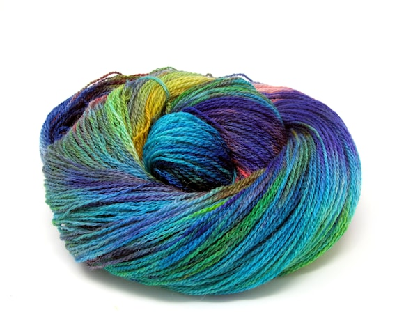 Hand Dyed Yarn Merino Wool & Silk Lace weight Yarn 100g 570m LMS1