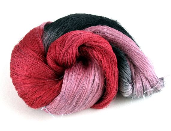 Mulberry Silk Yarn 100g 2/120s Hand Dyed - Flamingo - Embroidery Thread Sewing Tatting Weaving Luxury Lace