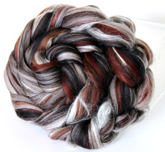 Merino Wool and Silk Combed Top Chocolate Truffle 100g Roving